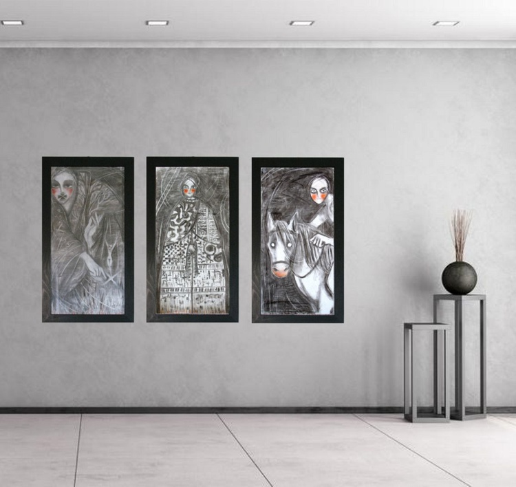 "FREE SHIPPING: Triptych - ""Unknown taboo""; ""Gentle""; ""He arrived all alone in summer"" - Image 0"
