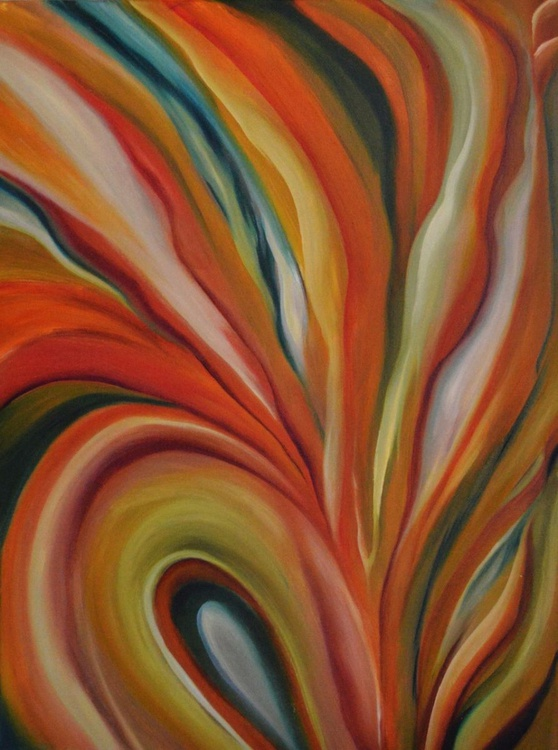 Floral abstract 2- soothing vibrant ribbons Orange Red Yellow Green Blue-Alleyvision - Image 0