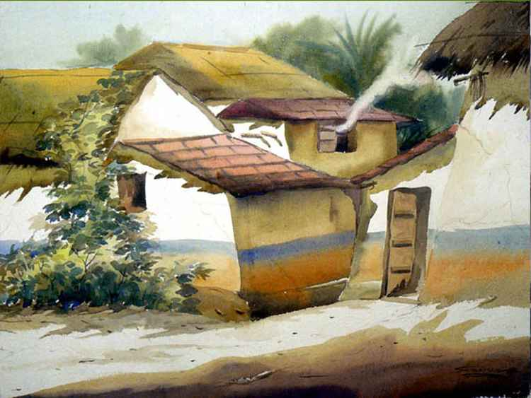 Morning Rural Bengal Village - Watercolor on Paper -