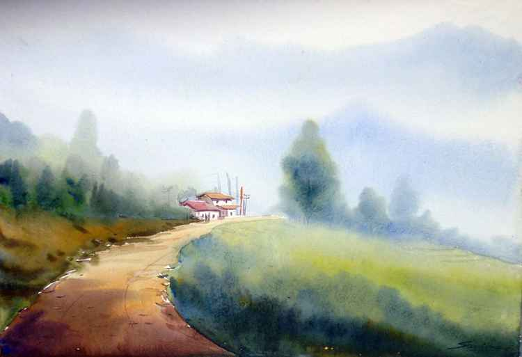 Morning Mountain Path & Village - Watercolor on Paper