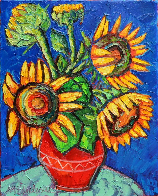 SUNFLOWERS IN RED VASE - Image 0