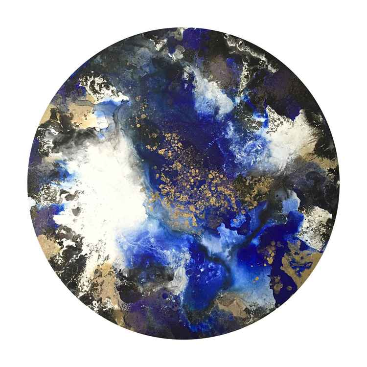 Blue Orbit, 70 x 70cm, circle canvas art for the Home, Office, Shop, Restaurant or Hotel -