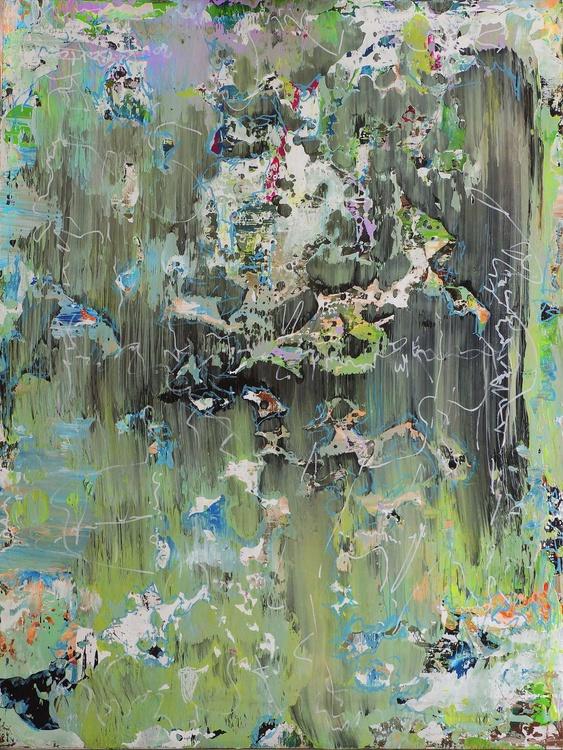 Enjoying Summergreen Opus 32 . Acrylic painting 80 x 60 cm. on hardwood panel. Unframed. - Image 0