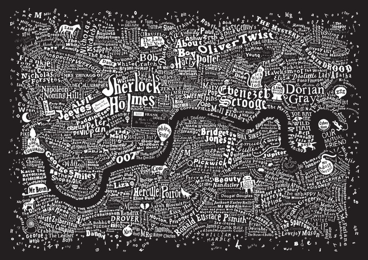 LITERARY LONDON MAP (Metallic Silver & White) - Image 0