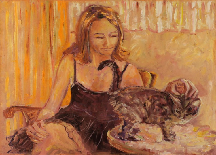Lady with cat - Image 0