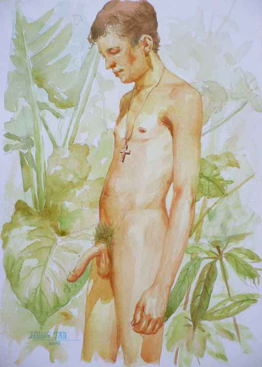 original watercolour painting art male nude man on paper #16-2-11-01 -