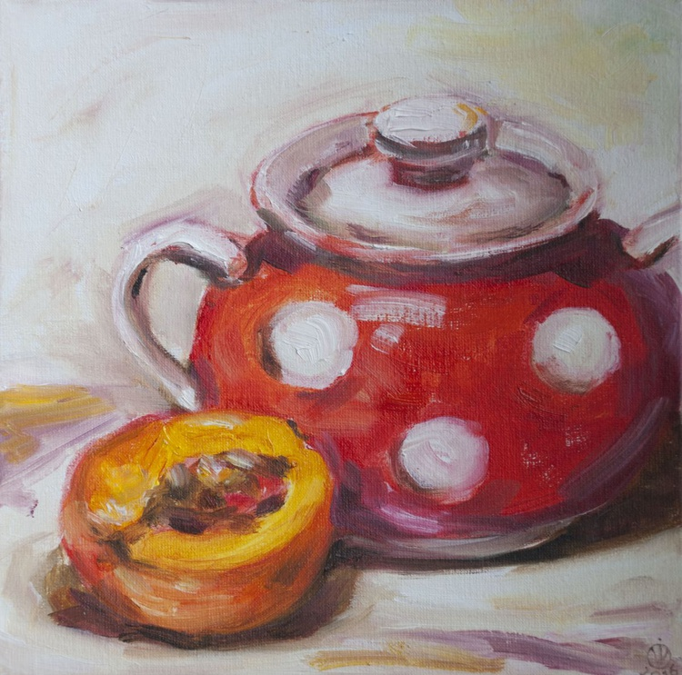 Polka Dot Sugar Bowl (20x20cm) original oil painting still life realistic impressionistic small gift kitchen decor - Image 0