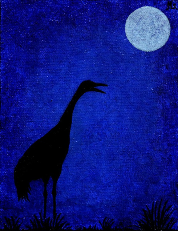 Common crane in the moonlight - Image 0