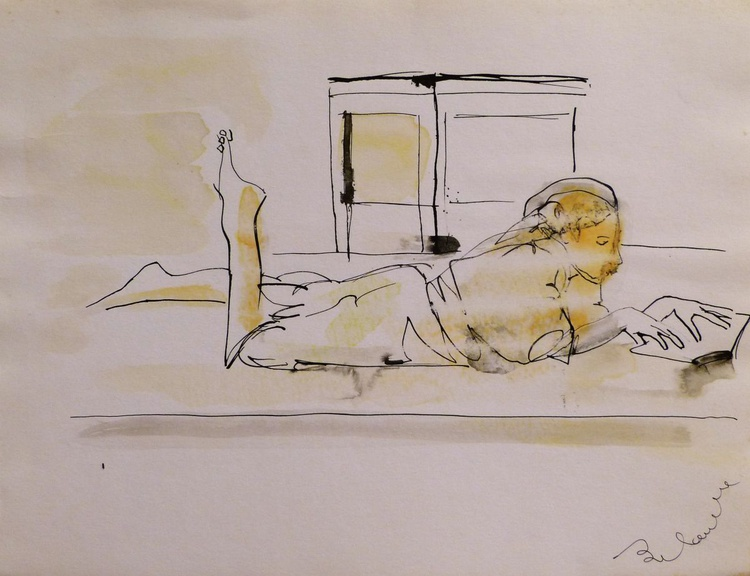 Reading in Bed, 24x32 cm - Image 0