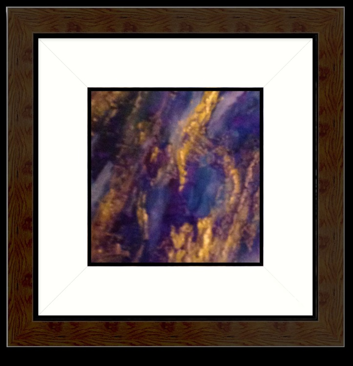 Aqua Ingot Resin Art,   20 x20 cms Mixed Media on canvas - Image 0