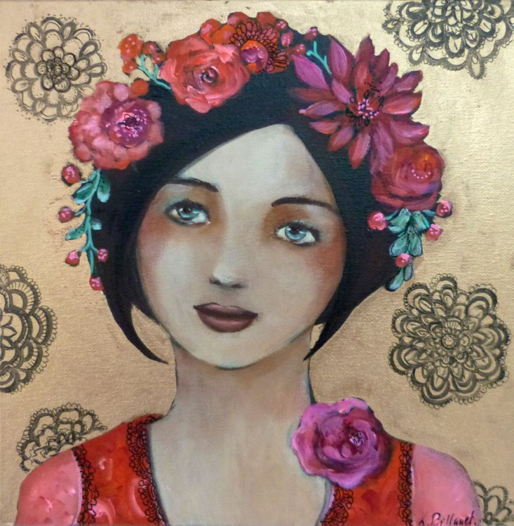 "Woman portrait ""Mina in May"" acrylic on canvas 30x30cm - Image 0"