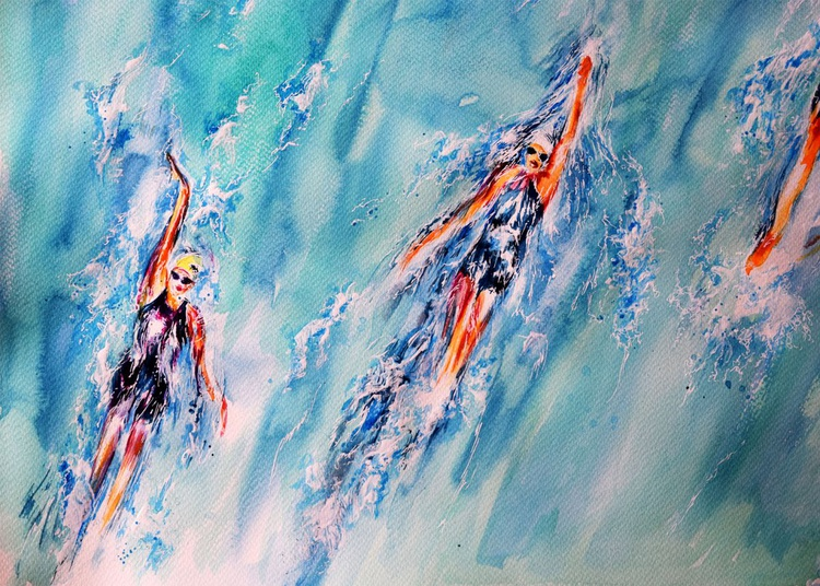 The race / Heading to the Medal Original  Art  Modern Contemporary Wall Art Home Decor  by Anna Sidi - Image 0