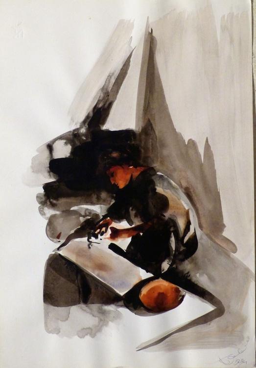 Woman sculpting #1, 48x33 cm - Image 0