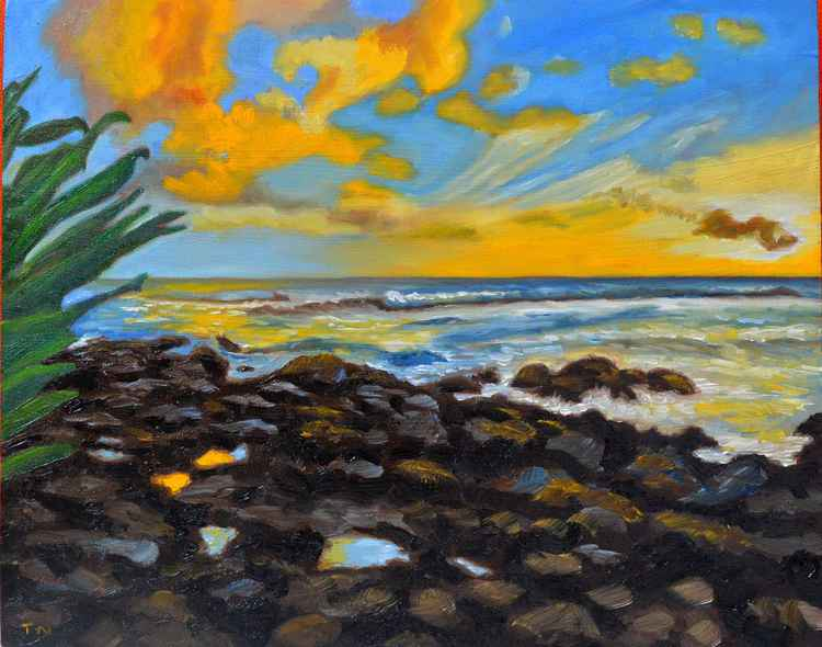 Puako's Sunset - coastal landscape - plein air painting -