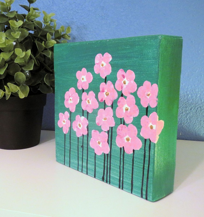 Pink Flowers on Teal 6x6 - Image 0