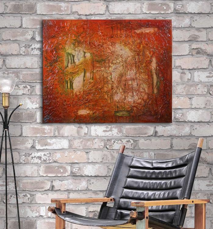TREASURE HUNTING II - abstract textural mixed media painting - Image 0