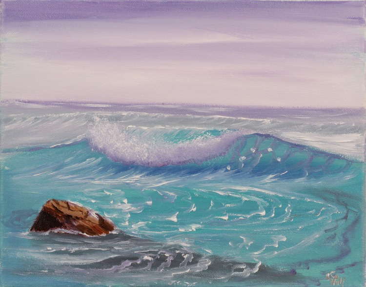 """Ocean Waves XVII 12x10"""" small seascape oil painting on canvas - Image 0"""