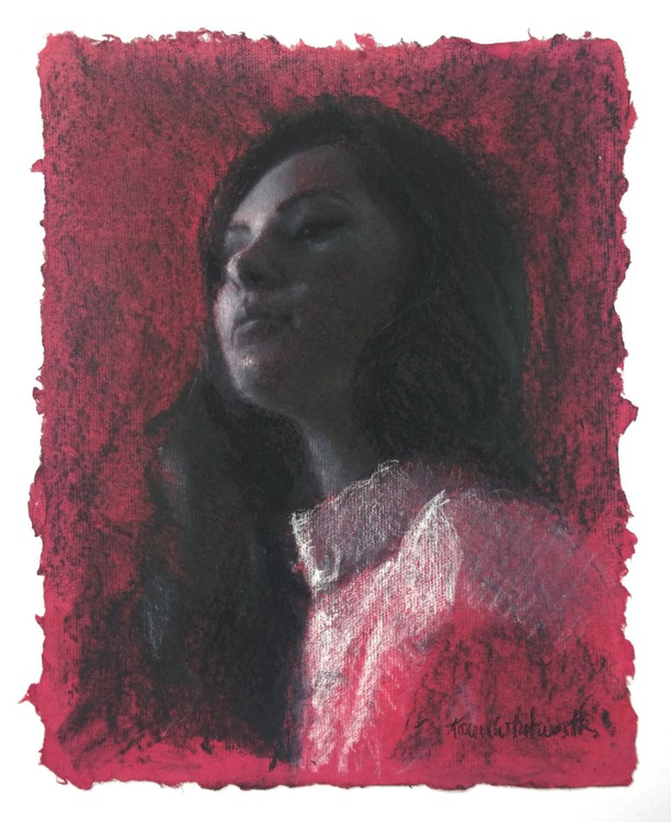 In The Pink - Charcoal Drawing on Hot Pink Paper - Image 0