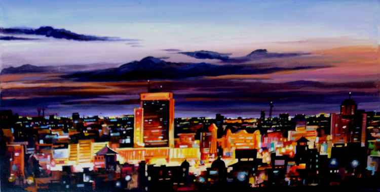 City at Night-Acrylic on Canvas painting -