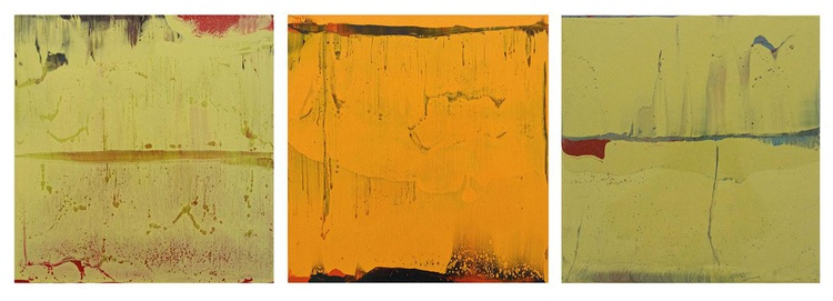 Working in varnish 127 (Triptychon green-orange) - Image 0
