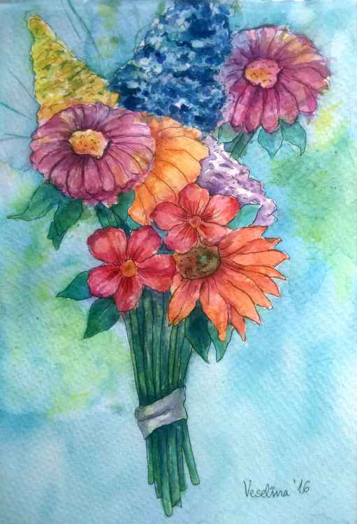Floral watercolour painting -