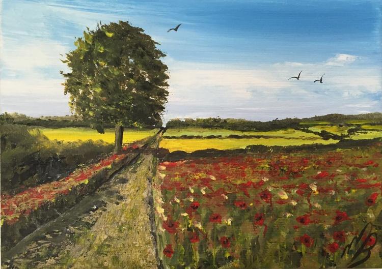 Poppy fields on a mini canvas - Image 0