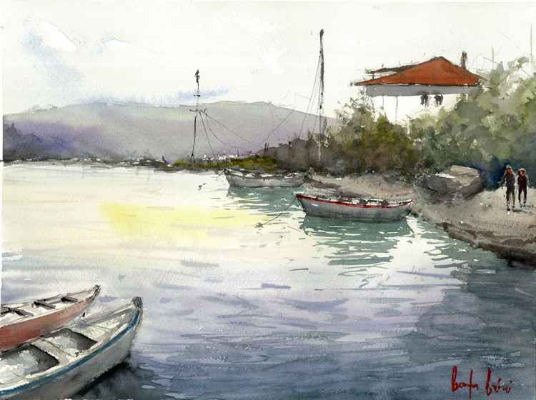 Fishermans Village watercolor painting