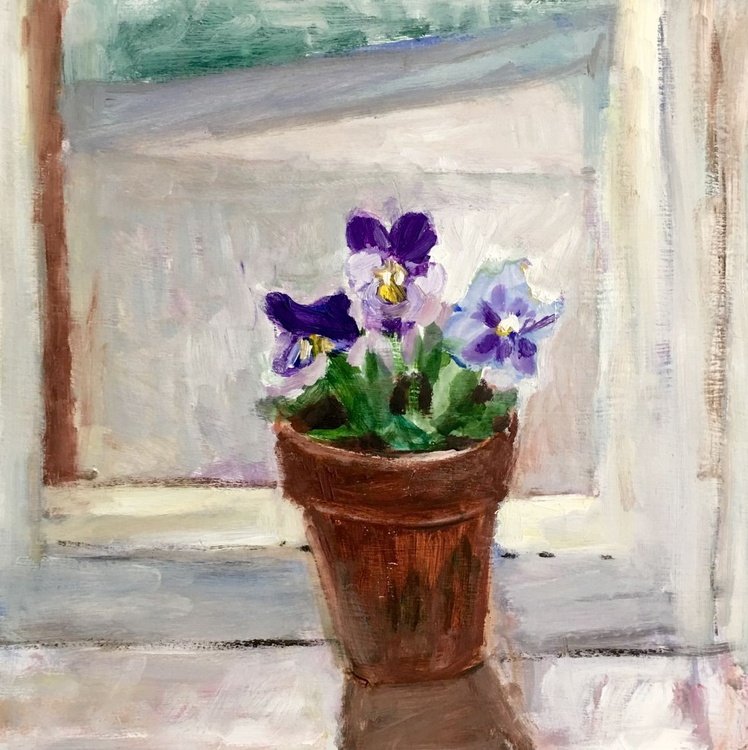Pansies in a Window, Small impressionistic flower painting - Image 0