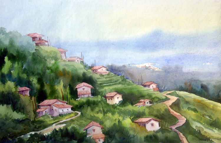 Morning Mountain Village - Watercolor on Paper -