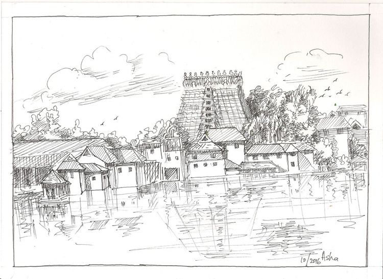 "South Indian Temple- Ink drawing-9.6""x 7"" - Image 0"
