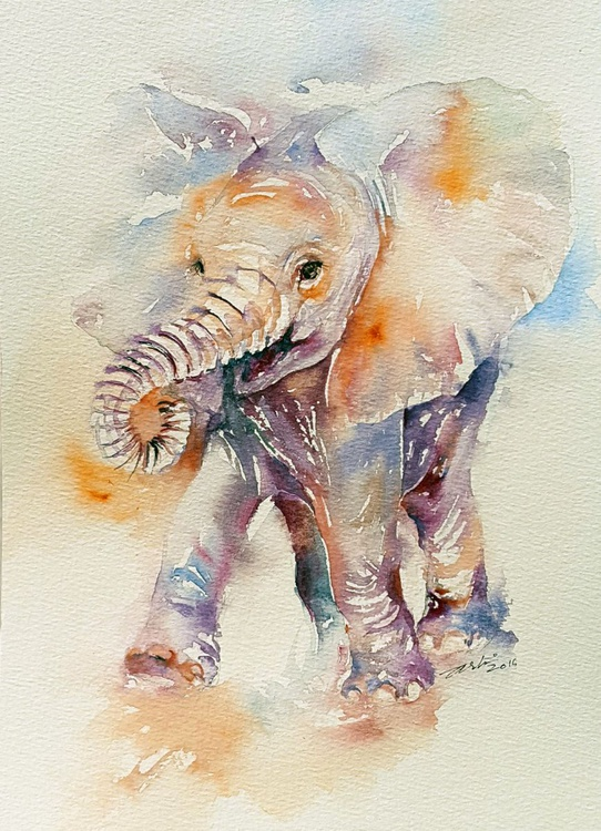 Happy Holly_Baby Elephant Watercolor Painting - Image 0