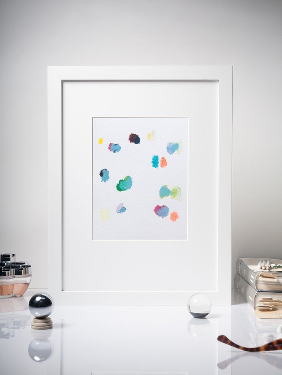 Color Interactions #03- Contemporary Spot Painting -  Framed 30x40cm - Image 0