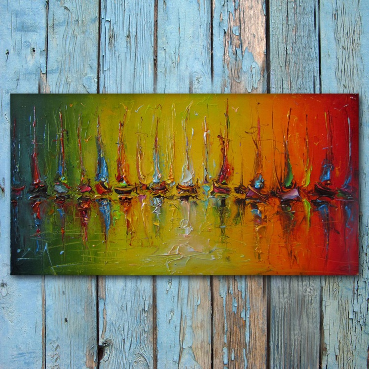 illusions, Abstract sailboats Painting, Free shipping - Image 0