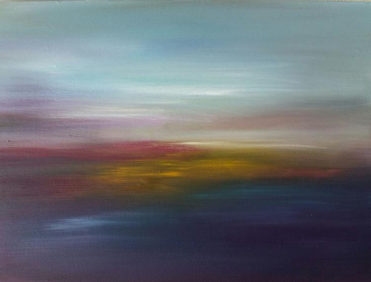 Summer Sunset, 40×30 cm, original oil painting, FREE SHIPPING - Image 0