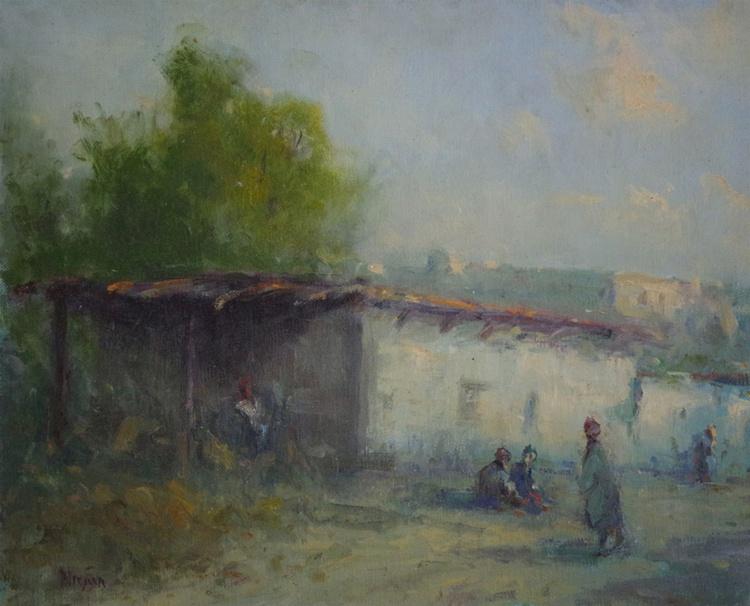Old Farm Landscape Summer Time Original oil Painting, Impressionism, Signed, One of a Kind - Image 0