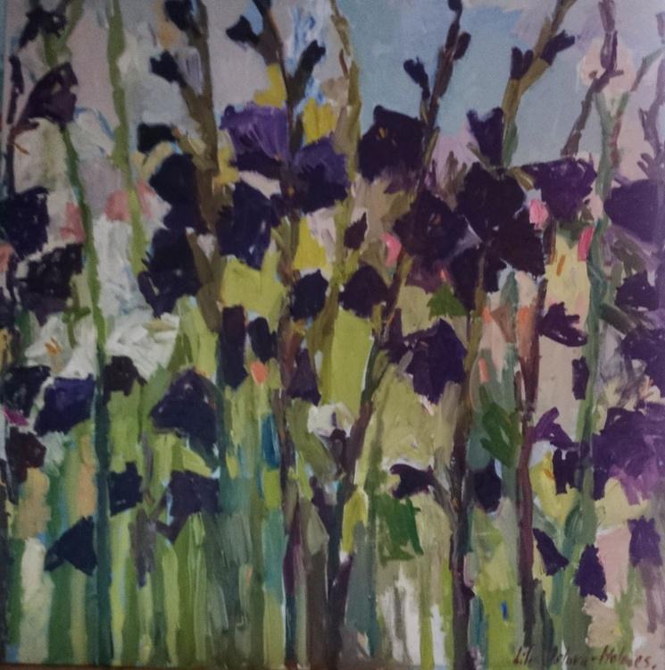 Purple gladioli #2. 100x100cm - Image 0