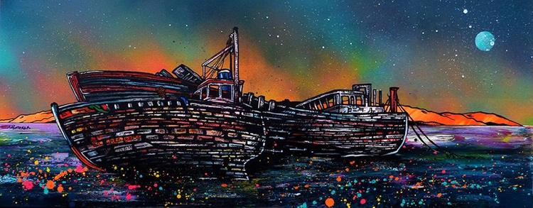 Salen Boat Wrecks Dusk, Isle Of Mull, Hebrides, Scotland - original Scottish landscape painting - Image 0
