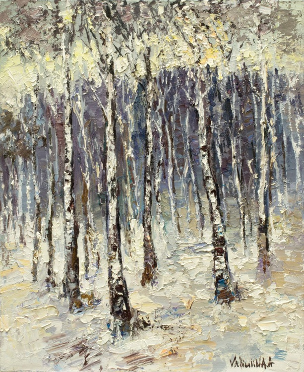 Birch Trees - Winter forest painting - Image 0