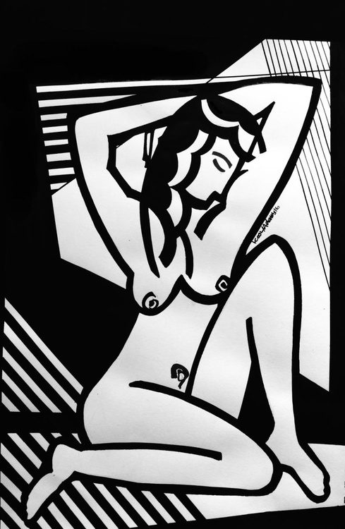 Nude with Striped Background - Image 0