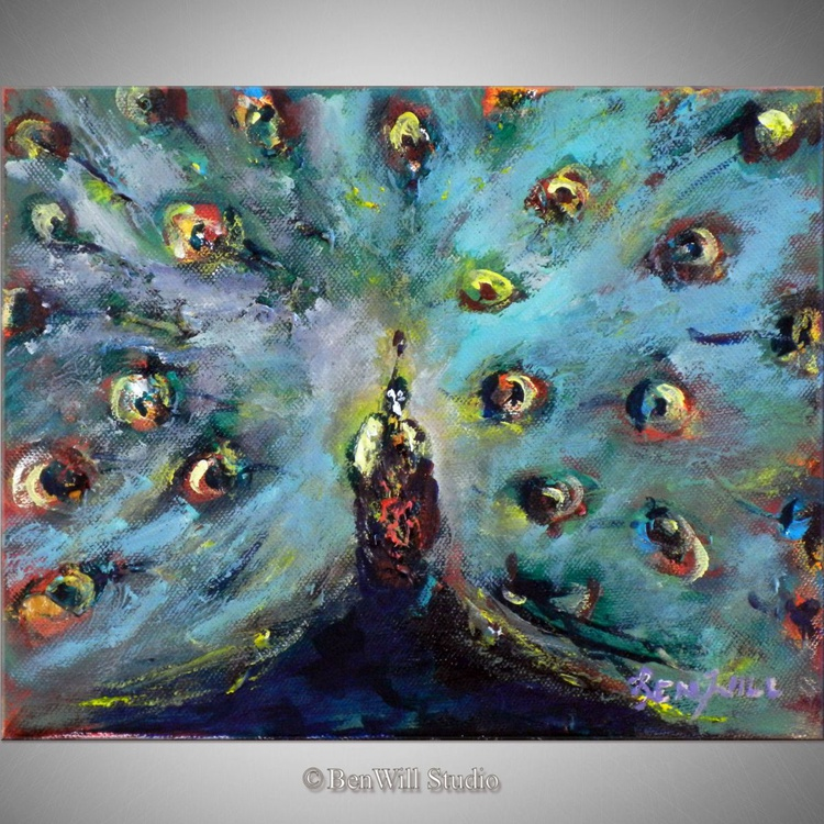 Abstract Peacock - Modern Painting - 12x8 - Image 0