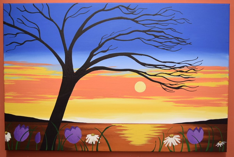 "landscape painting large wall art original abstract ""Sunset Glory"" painting art canvas colour gold paint red yellow sky blue - 24 x 36 x 1.5  inches - Image 0"