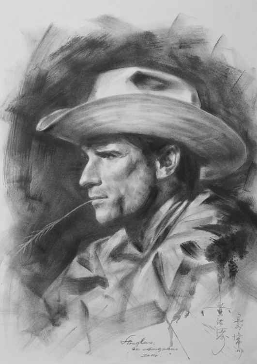 original art drawing charcoal portrait of cowboy  on paper #16-4-13-05
