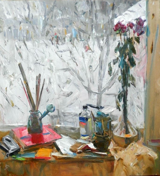 Winter still life on a window, large oil painting, 93x100 cm - Image 0