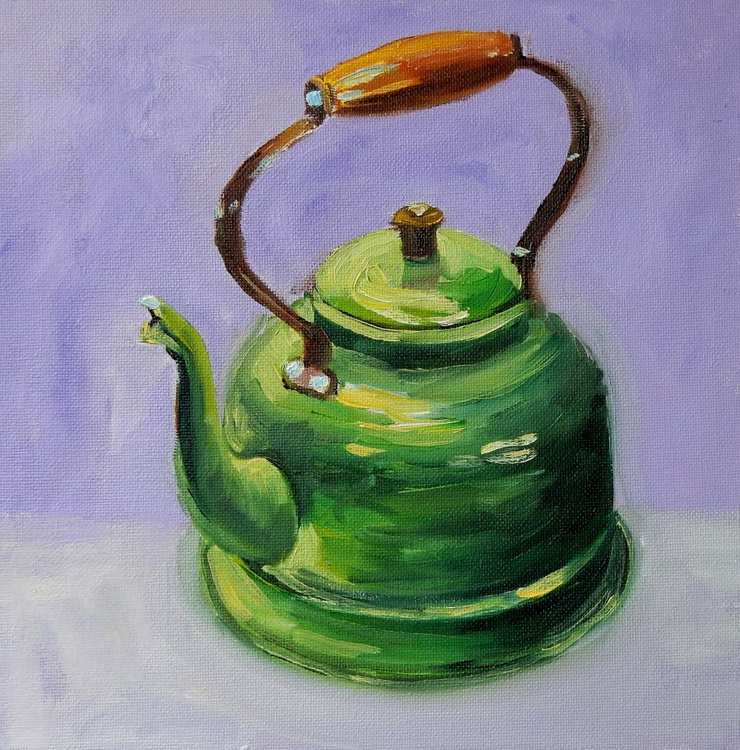 Green Kettle. Still life, 25x25cm - Image 0