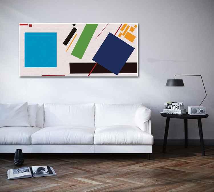Blue square, original painting, 2015 -