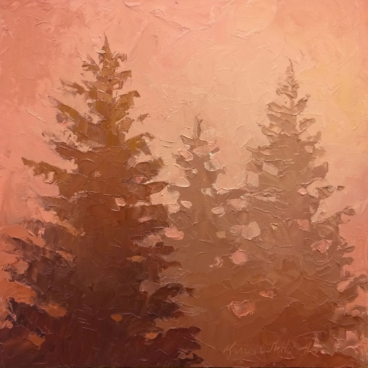 3 Cedars In The Fog No. 1 Original Palette Knife Oil Painting - Image 0
