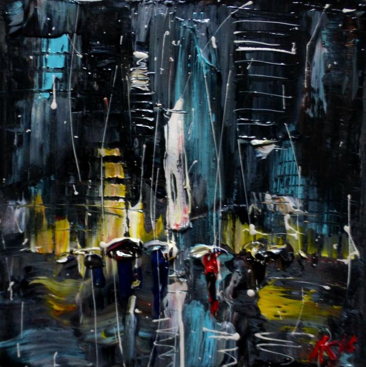 Night Rain, original oil painting 25x25 cm - Image 0