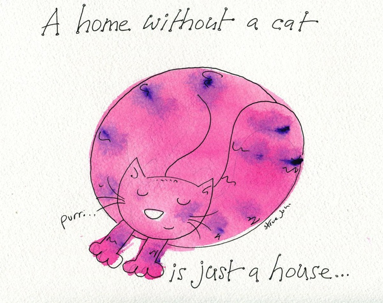 A home without a cat..... rose pink design - Image 0