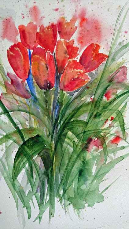 "tulip flowers 16""x12"" mounted -"