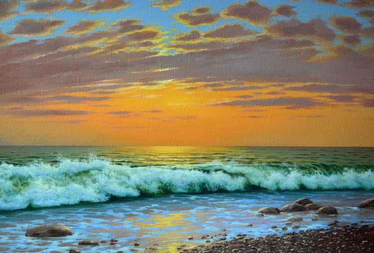 Seascape, Original oil on canvas, Free Shipping